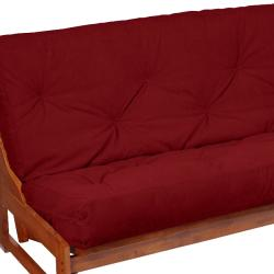 Full-Size 8-inch Red Suede Futon Mattress - Thumbnail 2