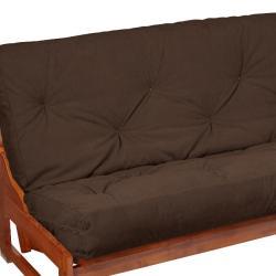 Queen-Size 6-inch Dark Brown Suede Futon Mattress - Thumbnail 2