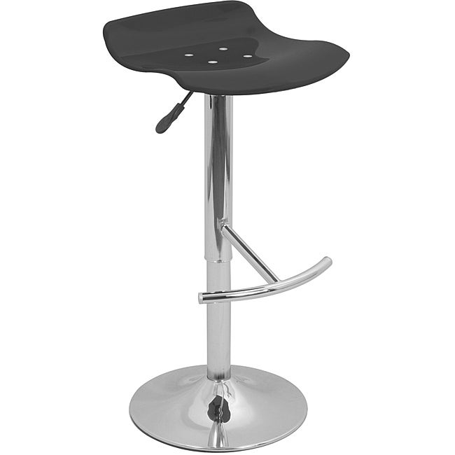 Wave Transparent Black Acrylic Adjustable Barstool Free