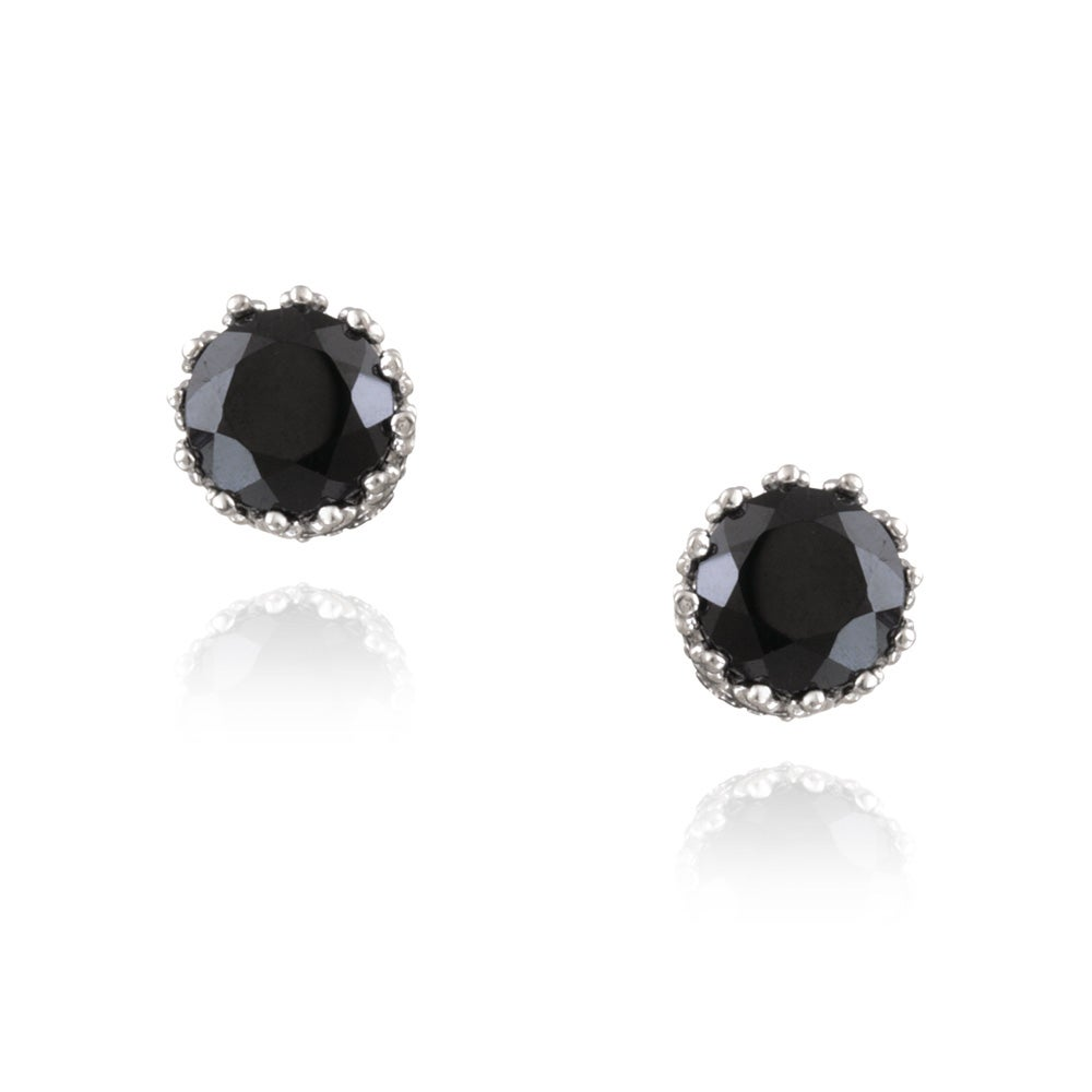 Glitzy Rocks Sterling Silver Black Spinel Round Stud Earrings 2 2ct Tgw