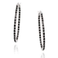 Glitzy Rocks Sterling Silver Black Spinel Hoop Earrings (1 1/3ct TGW)|https://ak1.ostkcdn.com/images/products/6519325/Glitzy-Rocks-Sterling-Silver-Black-Spinel-Hoop-Earrings-1-1-3ct-TGW-P14105557.jpg?impolicy=medium
