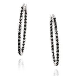 Glitzy Rocks Sterling Silver Black Spinel Hoop Earrings (1 1/3ct TGW)