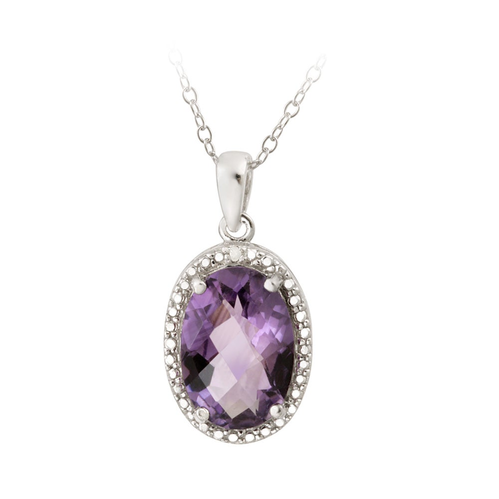 Glitzy Rocks Silver 4ct TGW Amethyst and Diamond Accent Necklace