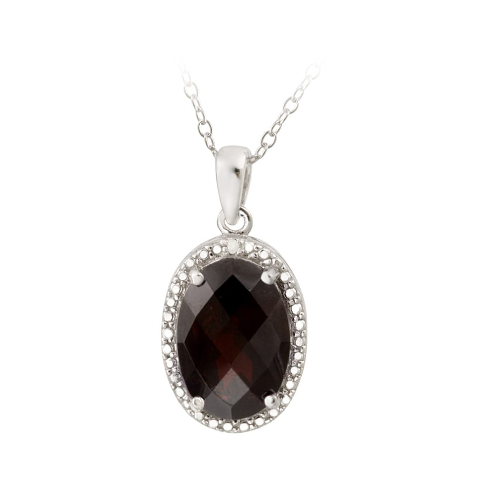 Glitzy Rocks Silver 5 1/2ct TGW Garnet and Diamond Accent Necklace