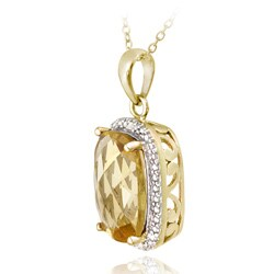 Glitzy Rocks 18k Gold/ Silver 5 1/10ct TGW Citrine and Diamond Necklace - Thumbnail 1