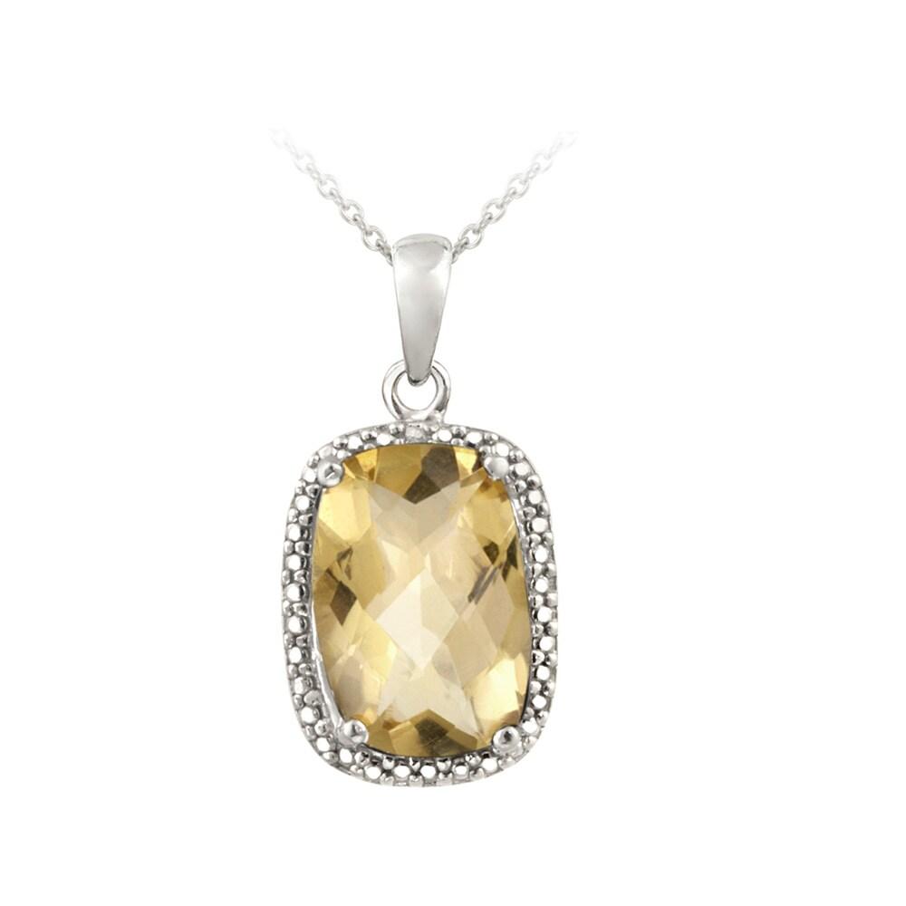 Glitzy Rocks Silver 5 1/10ct TGW Citrine and Diamond Accent Necklace