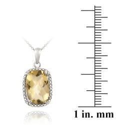 Glitzy Rocks Silver 5 1/10ct TGW Citrine and Diamond Accent Necklace - Thumbnail 2