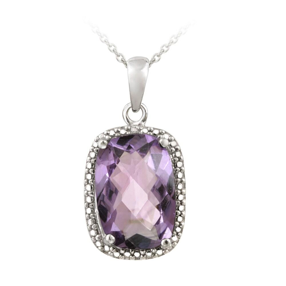 Glitzy Rocks Silver 5 1/10ct TGW Amethyst and Diamond Accent Necklace