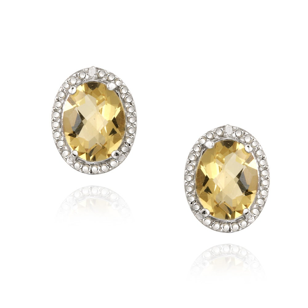 Glitzy Rocks Silver 3 1/3ct TGW Citrine and Diamond Accent Earrings