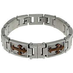Carolina Glamour Collection Stainless Steel Brown-plated Tribal Cross Link Bracelet