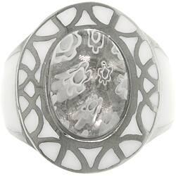 Carolina Glamour Collection Stainless Steel White Murano Glass Flower Ring|https://ak1.ostkcdn.com/images/products/6520147/CGC-Stainless-Steel-White-Murano-Glass-Flower-Ring-P14106231.jpg?impolicy=medium