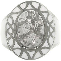 Carolina Glamour Collection Stainless Steel White Glass Flower Ring