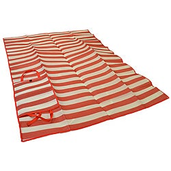 Foldable Red Narrow Striped Travel Mat - Thumbnail 0