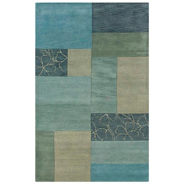 Hand-tufted Hesiod Blue Geometric Wool Rug - 5' x 8'