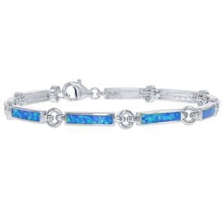 La Preciosa Sterling Silver Created Blue Opal Bar and Circle Bracelet|https://ak1.ostkcdn.com/images/products/6520191/P14106245.jpg?impolicy=medium