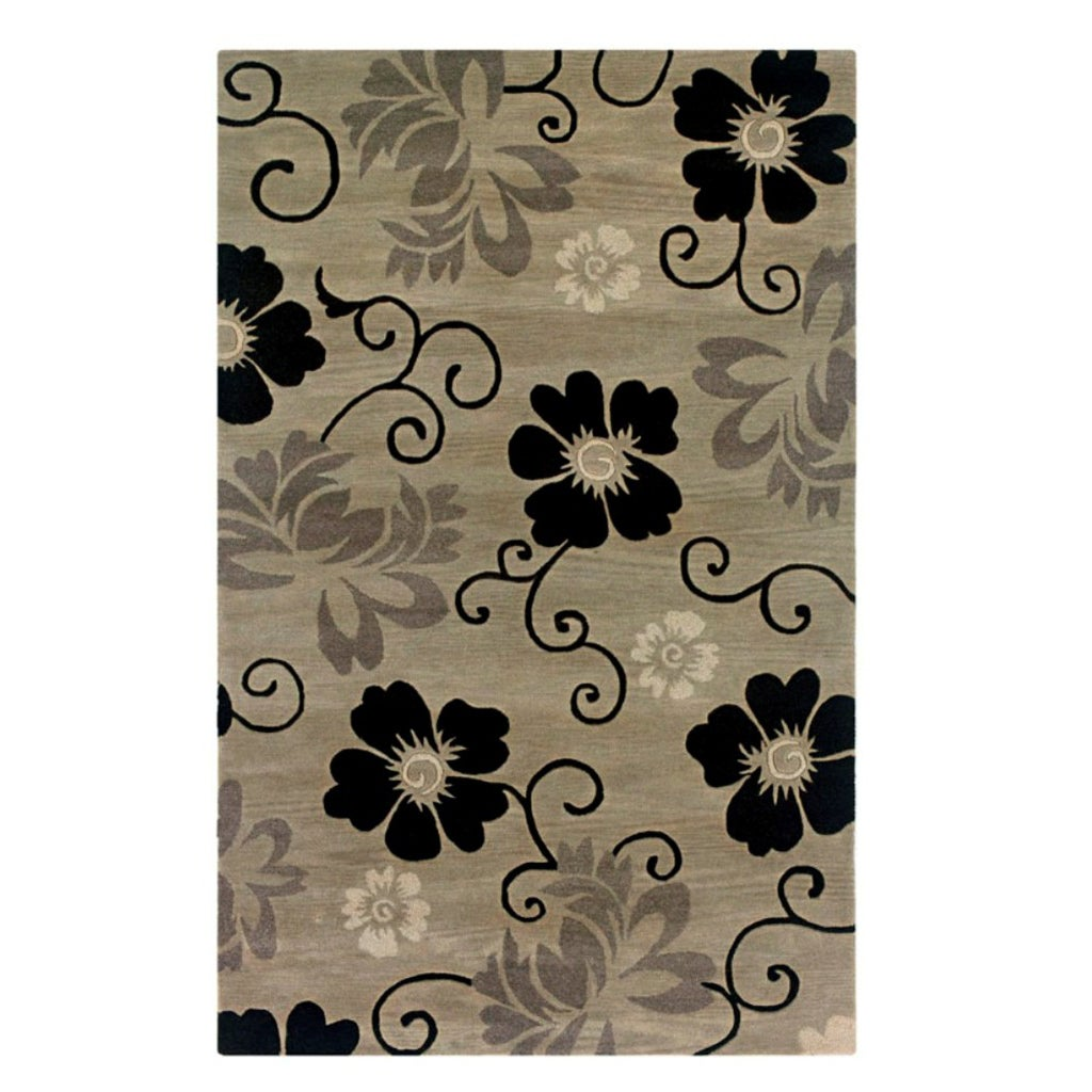 Hand-tufted Hesiod Pewter Wool Rug - 5' x 8'