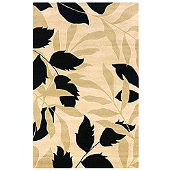 Contemporary Hand-Tufted Hesiod Ivory Wool Rug - 5' x 8' - Thumbnail 0