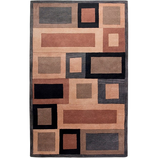 Hand-tufted Hesiod Grey Wool Rug - 5' x 8'