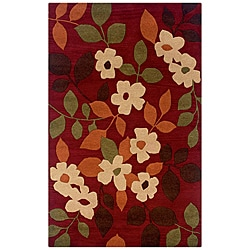 Hand-tufted Hesiod Burgundy Wool Rug (5' x 8')