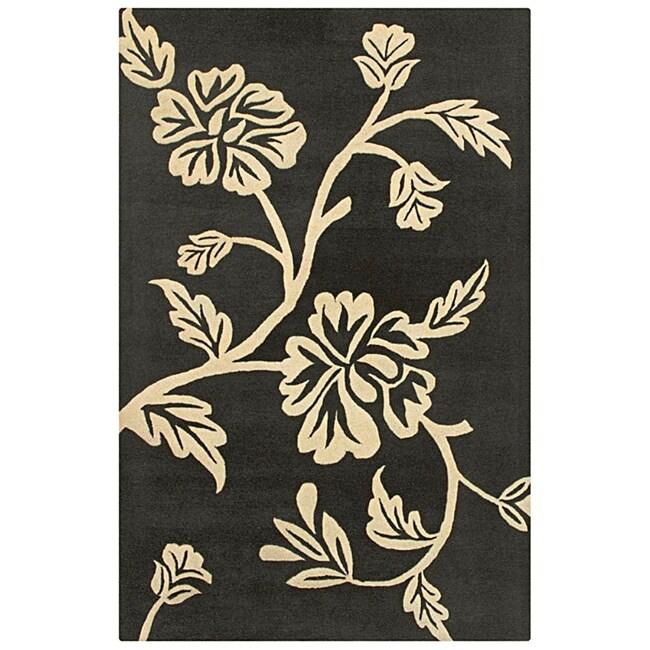 Hand-tufted Hesiod Charcoal Wool Rug (5' x 8')
