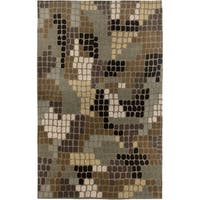 Hand-tufted Hesiod Brown Wool Area Rug - 5' x 8'