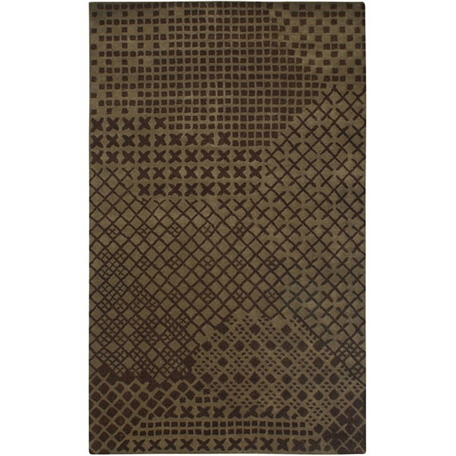 Hand-Tufted Hesiod Brown Geometric Wool Rug - 5' x 8'