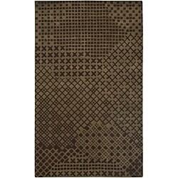 Hand-Tufted Hesiod Brown Geometric Wool Rug - 5' x 8' - Thumbnail 0