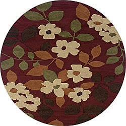 Hand-tufted Hesiod Burgundy Rug (8' x 8' Round)