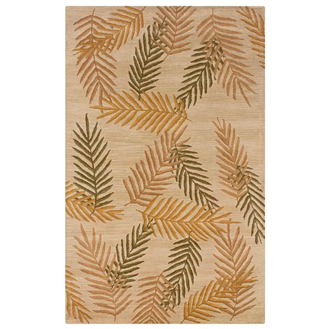 Hand-Tufted Hesiod Beige-and-Green Wool Rug (8' x 10')