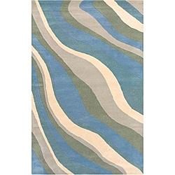 Soft Hand-Tufted Hesiod Blue Wool Rug - 8' x 10' - Thumbnail 0