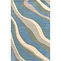 Soft Hand-Tufted Hesiod Blue Wool Rug - 8' x 10'