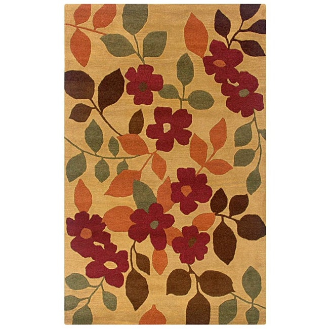 Hand-Tufted Hesiod Gold/Orange/Brown Floral Wool Rug - 8' x 10'