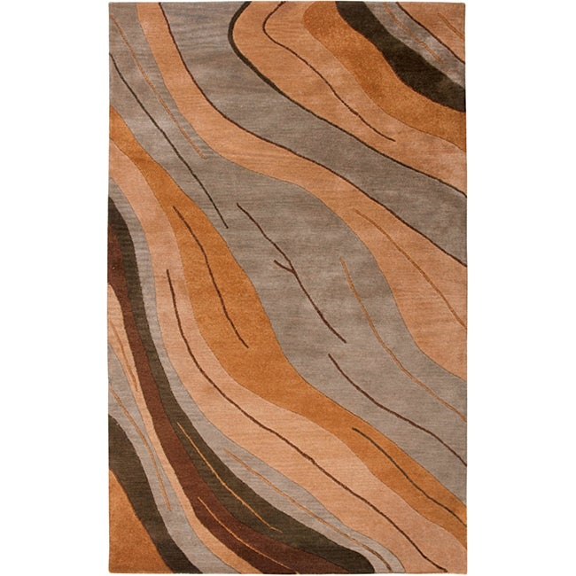 Hand-Tufted Hesiod Abstract Green Wool Rug - 8' x 10'