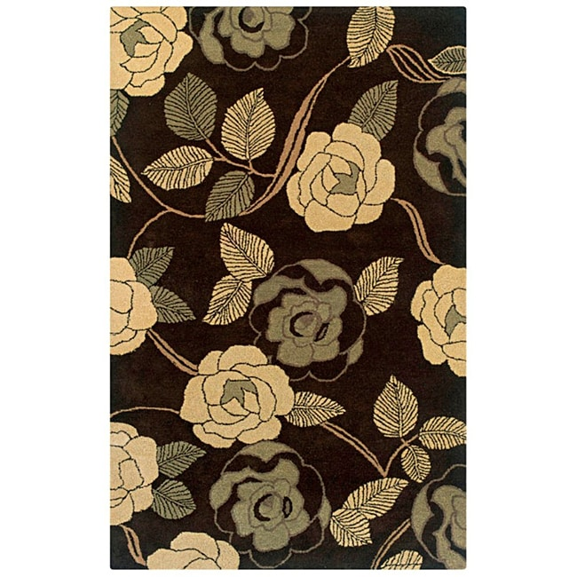 Hand-Tufted Hesiod Brown/Tan/Green Floral Wool Rug - 8' x 10'
