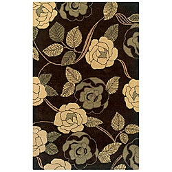 Hand-Tufted Hesiod Brown/Tan/Green Floral Wool Rug - 8' x 10' - Thumbnail 0