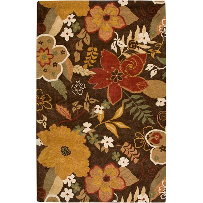 Hand-tufted Hesiod Brown Wool Rug - 8' x 10'