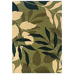 Modern Hand-Tufted Hesiod Green Rug (9' x 12') - Thumbnail 0
