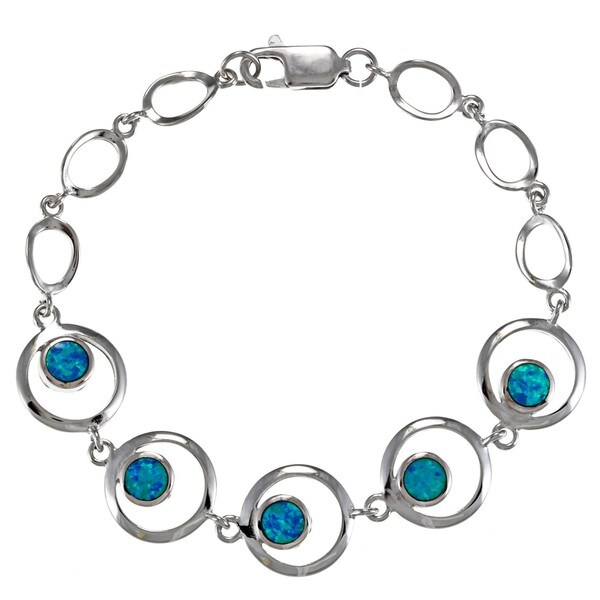La Preciosa Sterling Silver Created Blue Opal Circle Link Bracelet