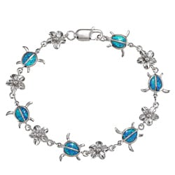 La Preciosa Silver Created Blue Opal Tortoise and Flower Bracelet