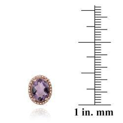 Glitzy Rocks Rose Gold/ Silver 3 1/3ct TGW Amethyst and Diamond Earrings