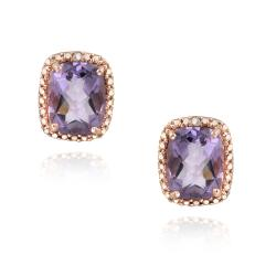 Glitzy Rocks Rose Gold/ Silver 4ct TGW Amethyst and Diamond Earrings