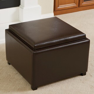 Wellington Bonded Leather Tray Top Ottoman by Christopher Knight Home