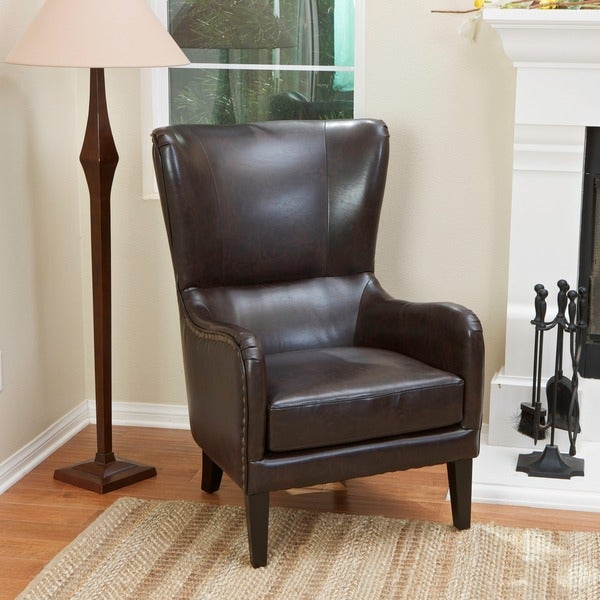 Attrayant Lorenzo Bonded Leather Studded Club Chair By Christopher Knight Home