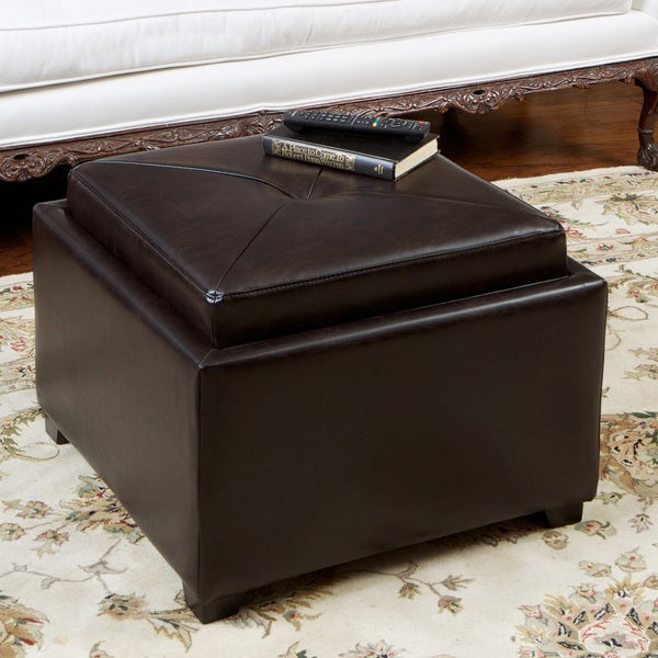 Paddington Brown Leather Chessboard Storage Ottoman with Hardwood Legs by Christopher Knight Home