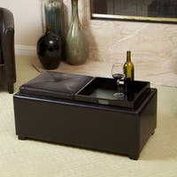 Maxwell Espresso Bonded Leather Tray Ottoman by Christopher Knight Home