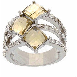 Simon Frank Silvertone Yellow and White Rhinestone Tri-band Ring