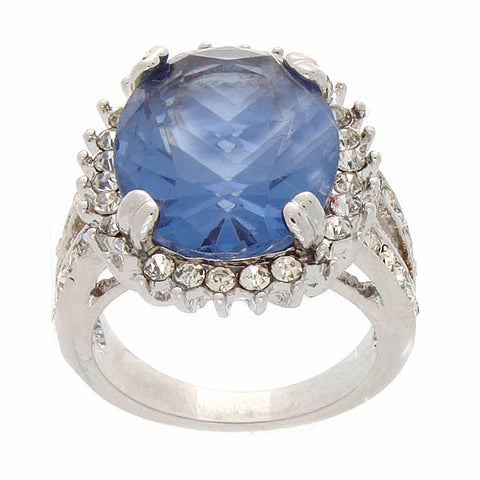 Simon Frank Silvertone Blue and White Crystal Ring