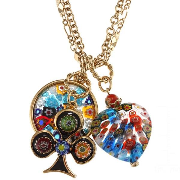 Sweet Romance Millefiori Candy Glass Charm Necklace