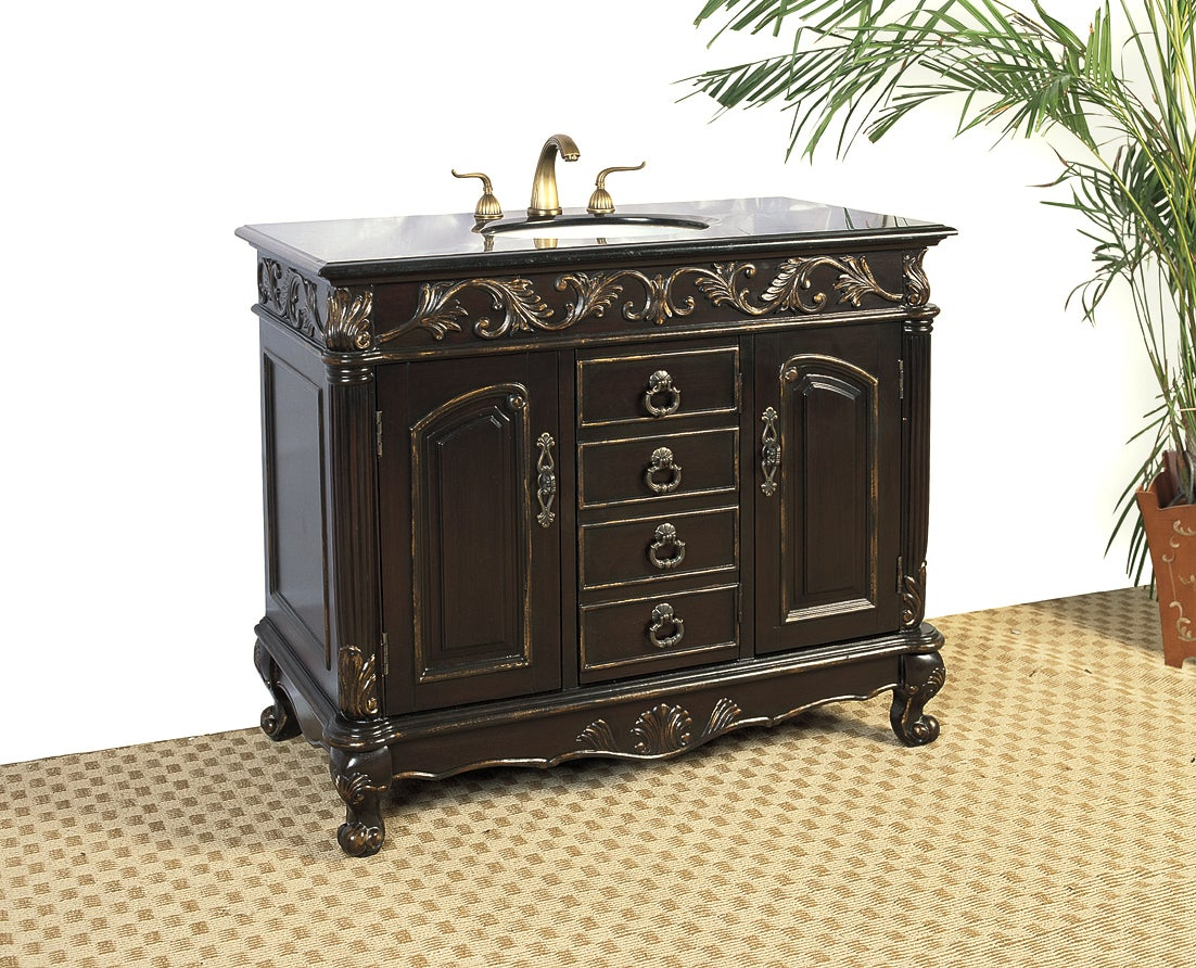 Distressed Espresso Black Granite Bathroom Vanity With Sink Free Shipping Today Overstock