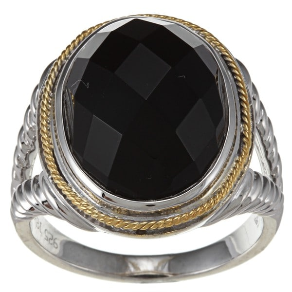18k Gold and Sterling Silver Black Agate Ring